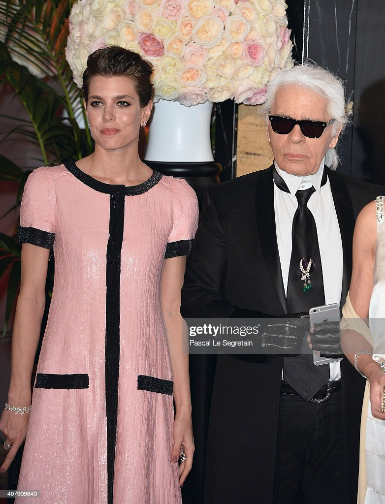 Charlotte Casiraghi and Karl Lagerfeld attend the Rose Ball 2015 in aid of the Princess Grace Foundation at Sporting MonteCarlo on March 28 2015 in...