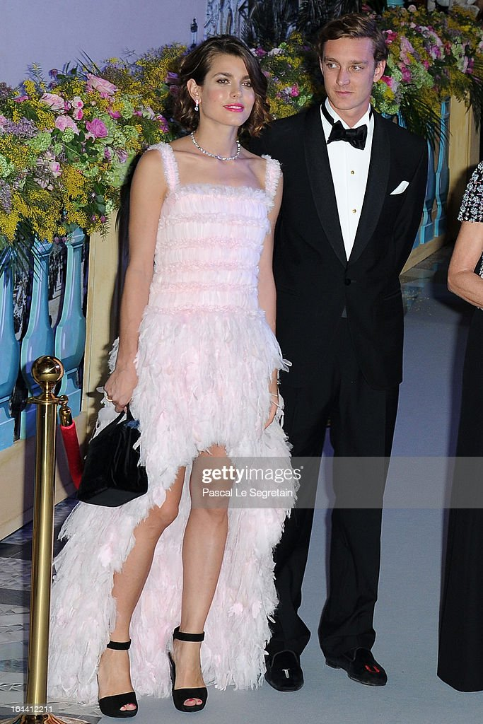 Charlotte Casiraghi and Pierre Casiraghi attend the 'Bal De La Rose Du Rocher' in aid of the Fondation Princess Grace on the 150th Anniversary of the SBM at Sporting Monte-Carlo on March 23, 2013 in Monte-Carlo, Monaco.