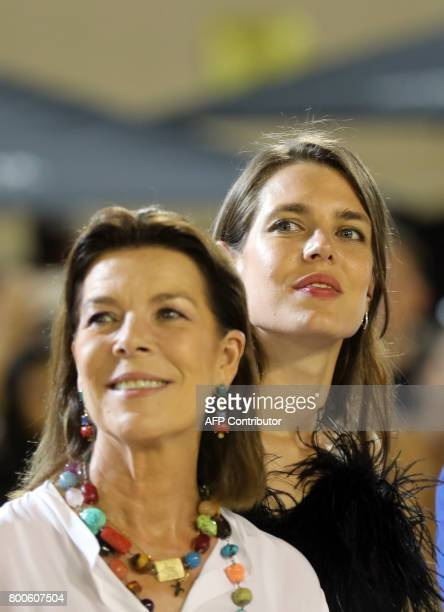 Charlotte Casiraghi and Princess Caroline of Hanover attend a ceremony during the 2017 edition of the Jumping International of Monaco horse jumping...