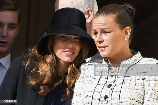 Charlotte Casiraghi and Princess Stephanie of Monaco attend the National Day Parade as part of Monaco National Day Celebrations at Monaco Palace on...