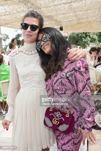 Charlotte Casiraghi and Salma Hayek attend Kering Women in motion lunch with Madame Figaro on May 22 2017 in Cannes France