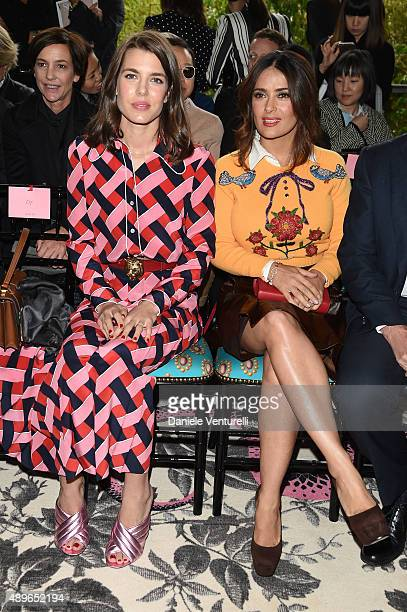 Charlotte Casiraghi and Salma Hayek attend the Gucci show during the Milan Fashion Week Spring/Summer 2016 on September 23 2015 in Milan Italy