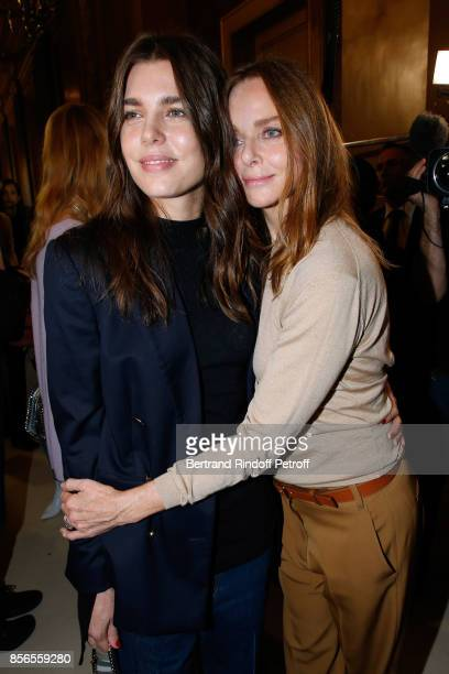 Charlotte Casiraghi and Stylist Stella McCartney pose Backstage after the Stella McCartney show as part of the Paris Fashion Week Womenswear...