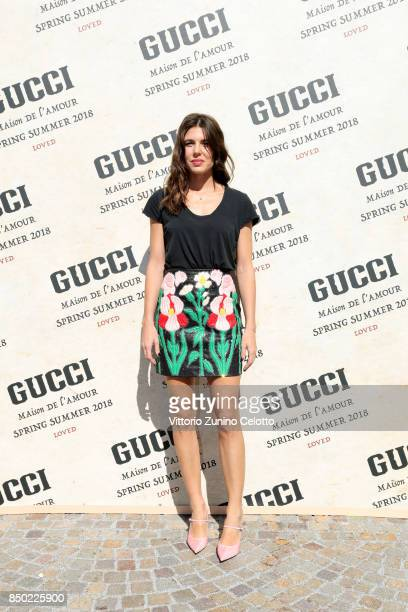 Charlotte Casiraghi arrives at the Gucci show during Milan Fashion Week Spring/Summer 2018 on September 20 2017 in Milan Italy