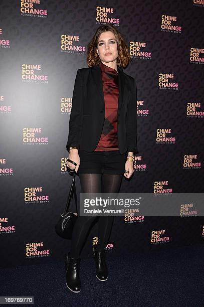 Charlotte Casiraghi arrives at the Royal Box photo wall ahead of the 'Chime For Change The Sound Of Change Live' Concert at Twickenham Stadium on...