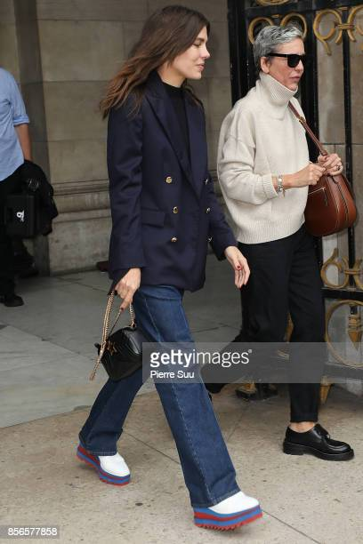 Charlotte Casiraghi arrives at the Stella McCartney show as part of the Paris Fashion Week Womenswear Spring/Summer 2018 on October 2 2017 in Paris...