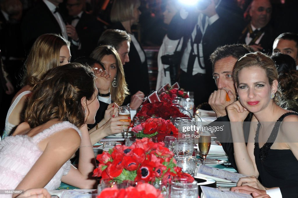 <a gi-track='captionPersonalityLinkClicked' href=/galleries/search?phrase=Charlotte+Casiraghi&family=editorial&specificpeople=206874 ng-click='$event.stopPropagation()'>Charlotte Casiraghi</a> (L), <a gi-track='captionPersonalityLinkClicked' href=/galleries/search?phrase=Gad+Elmaleh&family=editorial&specificpeople=586672 ng-click='$event.stopPropagation()'>Gad Elmaleh</a> (2nd R) and Eloise van der Heyden (R) attend the 'Bal De La Rose Du Rocher' in aid of the Fondation Princess Grace on the 150th Anniversary of the SBM at Sporting Monte-Carlo on March 23, 2013 in Monte-Carlo, Monaco.