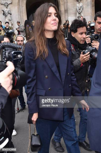 Charlotte Casiraghi is seen arriving at Stella McCartney show during Paris Fashion Week on October 2 2017 in Paris France
