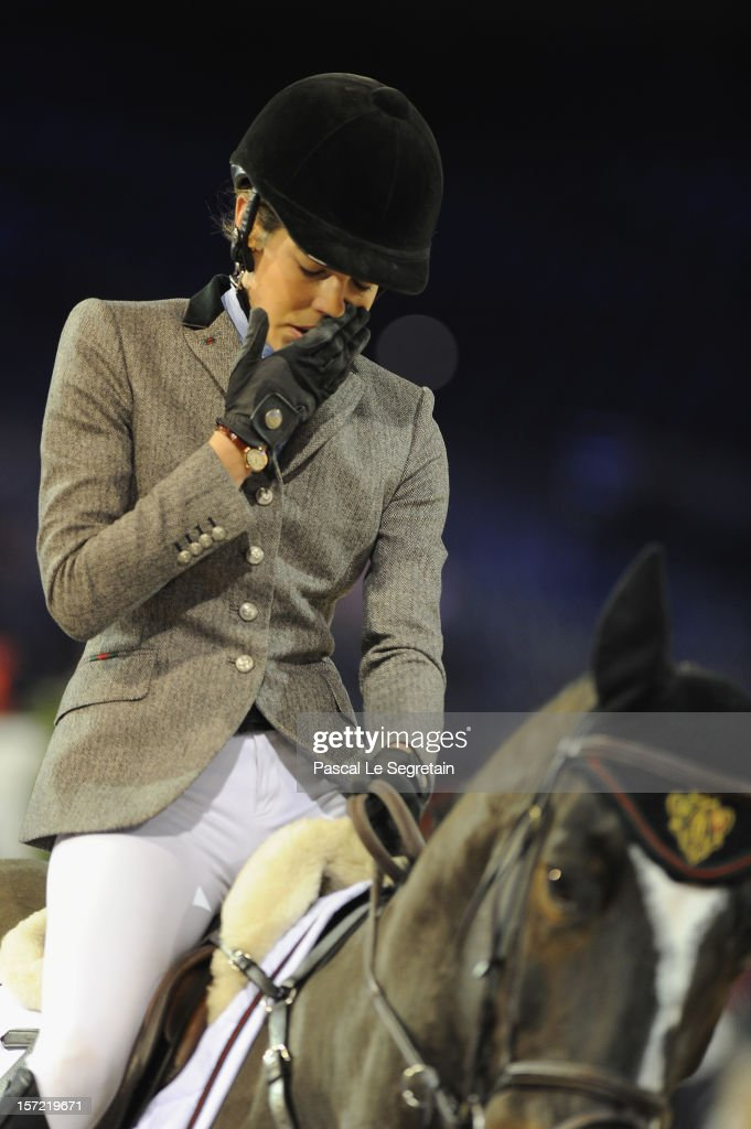 Charlotte Casiraghi is seen disapointed after being eliminated from the Masters Grand Slam competition during the Gucci Paris Masters 2012 at Paris Nord Villepinte on November 30, 2012 in Paris, France.