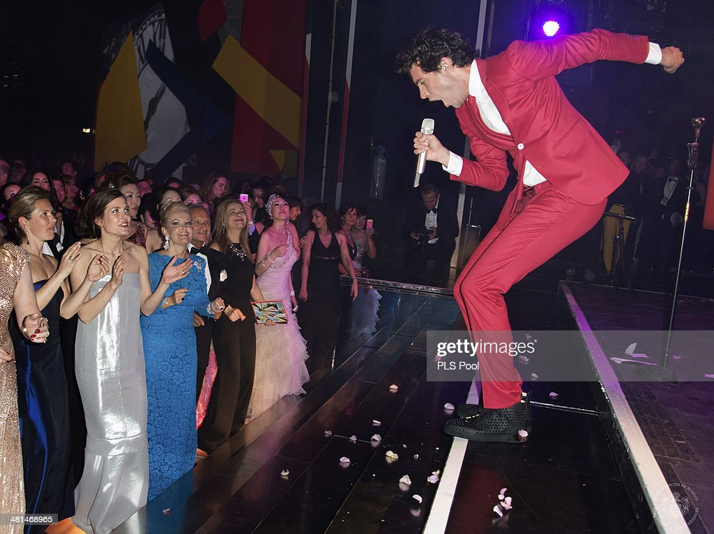 Charlotte Casiraghi looks on as Mika performs during the Rose Ball 2014 in aid of the Princess Grace Foundation at Sporting Monte-Carlo on March 29, 2014 in Monte-Carlo, Monaco.