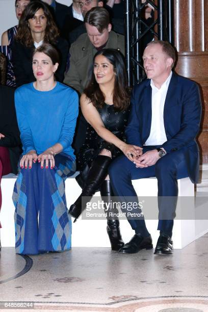Charlotte Casiraghi Salma Hayek and her husband CEO of Kering Group FrancoisHenri Pinault attend the Stella McCartney show as part of the Paris...