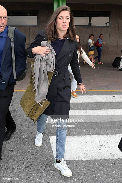 Charlotte Casiraghi sighted at the airport on September 22 2015 in Milan Italy