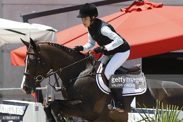 Charlotte Casiraghi the second child of Caroline Princess of Hanover competes during the 2015 edition of the Jumping International of Monaco horse...