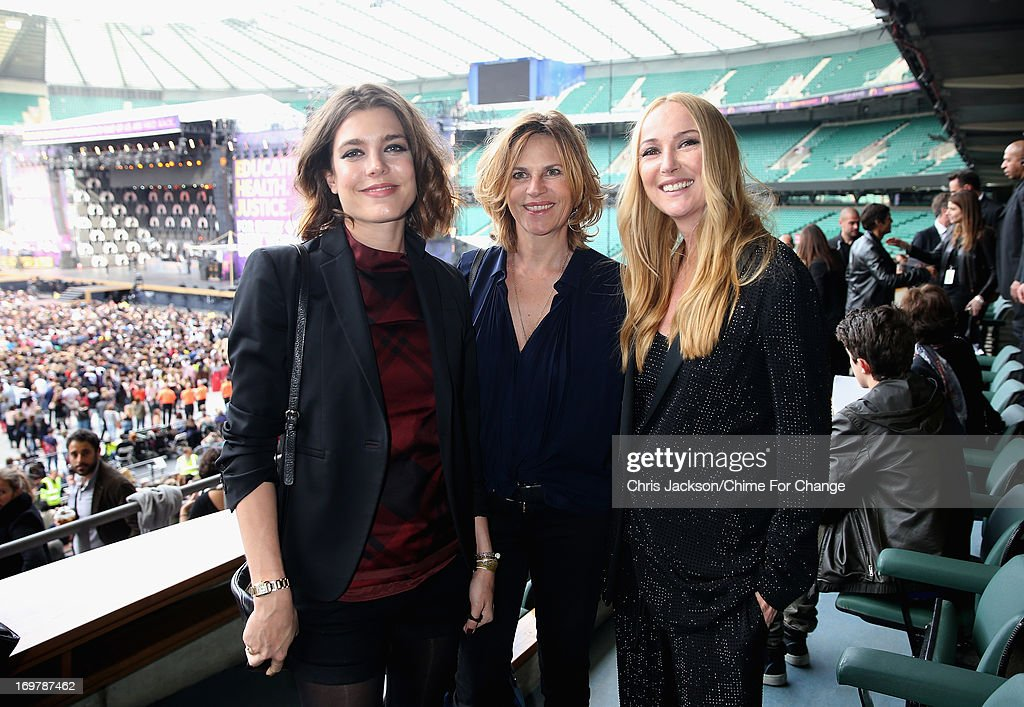<a gi-track='captionPersonalityLinkClicked' href=/galleries/search?phrase=Charlotte+Casiraghi&family=editorial&specificpeople=206874 ng-click='$event.stopPropagation()'>Charlotte Casiraghi</a>, Virginie Couperie-Eiffel and Creative Director of Gucci <a gi-track='captionPersonalityLinkClicked' href=/galleries/search?phrase=Frida+Giannini&family=editorial&specificpeople=559380 ng-click='$event.stopPropagation()'>Frida Giannini</a> pose inside the Royal Box at the 'Chime For Change: The Sound Of Change Live' Concert at Twickenham Stadium on June 1, 2013 in London, England. Chime For Change is a global campaign for girls' and women's empowerment founded by Gucci with a founding committee comprised of Gucci Creative Director <a gi-track='captionPersonalityLinkClicked' href=/galleries/search?phrase=Frida+Giannini&family=editorial&specificpeople=559380 ng-click='$event.stopPropagation()'>Frida Giannini</a>, Salma Hayek Pinault and Beyonce Knowles-Carter.