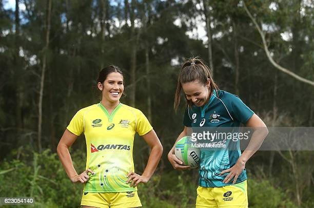 Charlotte Caslick and and Chloe Dalton pose during the Australian Sevens Rugby Jersey launch at the Sydney Academy of Sport on November 14 2016 in...