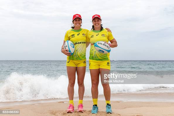 Charlotte Caslick and Sharni Williams during an Australian Women's Sevens media opportunity at Coogee Beach on February 2 2017 in Sydney Australia