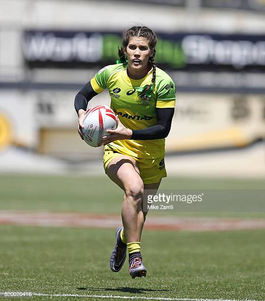 Charlotte Caslick of Australia runs with the ball during the match against the United States at Fifth Third Bank Stadium on April 9 2016 in Kennesaw...