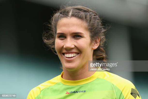 Charlotte Caslick of Australia watches on during the 2017 HSBC Sydney Sevens at Allianz Stadium on February 3 2017 in Sydney Australia