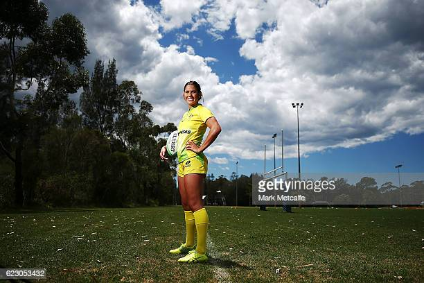 Charlotte Caslick poses during the Australian Sevens Rugby Jersey launch at the Sydney Academy of Sport on November 14 2016 in Sydney Australia