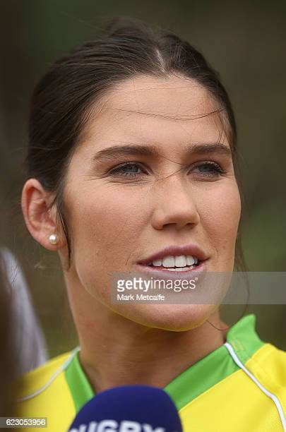 Charlotte Caslick speaks to the media during the Australian Sevens Rugby Jersey launch at the Sydney Academy of Sport on November 14 2016 in Sydney...