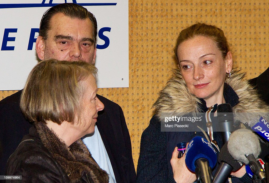 Charlotte Cassez Franck Berton and Florence Cassez attend a Press conference following Florence Cassez's release from prison in Mexico at...