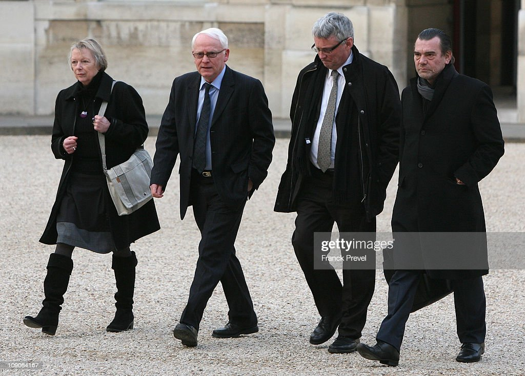 Charlotte Cassez her husband Bernard deputy Thierry Lazaro and lawyer Franck Berton arrive to meet with France's President Nicolas Sarkozy at Elysee...