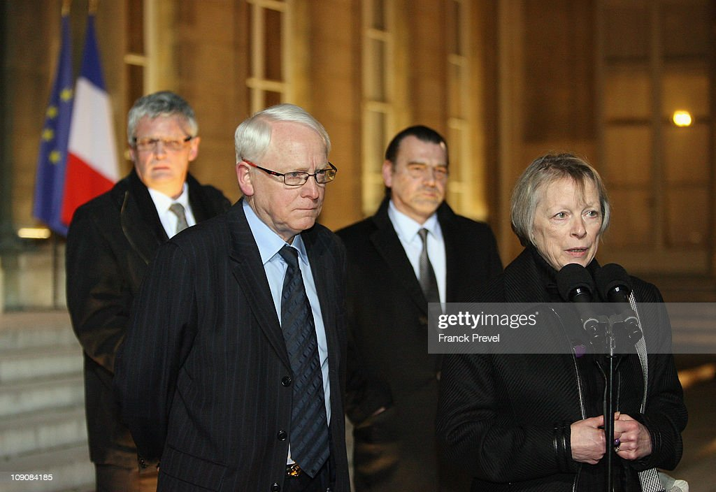 Charlotte Cassez her husband Bernard deputy Thierry Lazaro and lawyer Franck Berton speak to the press after a meeting with France's President...