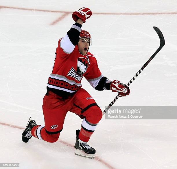 Charlotte Checkers' Chris Terry celebrates his goal during the third period against the Norfolk Admirals in an American Hockey League game at the PNC...