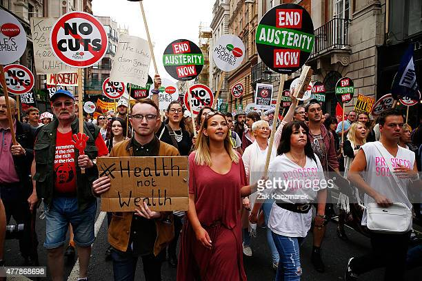 Charlotte Church attends an Anti Austerity demonstration at Bank Of England on June 20 2015 in London England