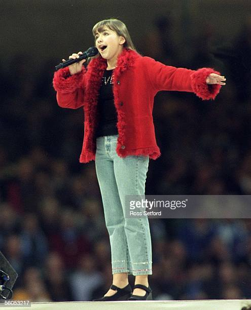 Charlotte Church singing at the closing ceremony for the 1999 Rugby World Cup Millennium Stadium Cardiff Saturday