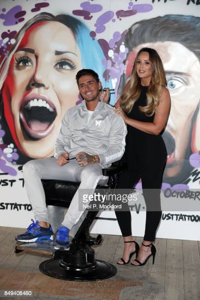 Charlotte Crosby and Stephen Bear at the 'Just Tattoo Of Us Can You Deal With The Reveal' popup tattoo parlour on September 19 2017 in London United...