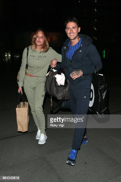 Charlotte Crosby and Stephen Bear leave the Facebook Headquarters after their exclusive Facebook live preshow before MTV 'Just Tattoo Of Us' on April...