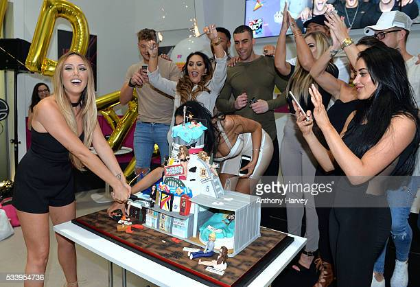 Charlotte Crosby cuts the birthday cake with Holly Hagan Chloe Etherington Chantelle Connelly Marnie Simpson Sophie Kasaei Aaron Chalmers Nathan...