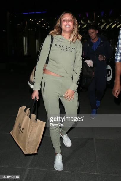 Charlotte Crosby leaves the Facebook Headquarters after her exclusive Facebook live preshow before MTV 'Just Tattoo Of Us' on April 3 2017 in London...
