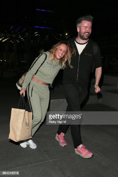 Charlotte Crosby leaving the Facebook Headquarters after their exclusive Facebook live preshow before MTV Just Tattoo Of Us on April 3 2017 in London...