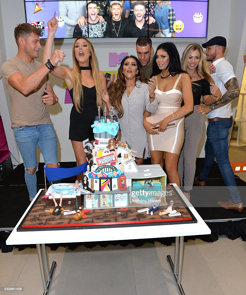 Charlotte Crosby, Sophie Kasaei, Chloe Etherington and Holly Hagan of Geordie Shore celebrate their fifth birthday at MTV London on May 24, 2016 in London, England.
