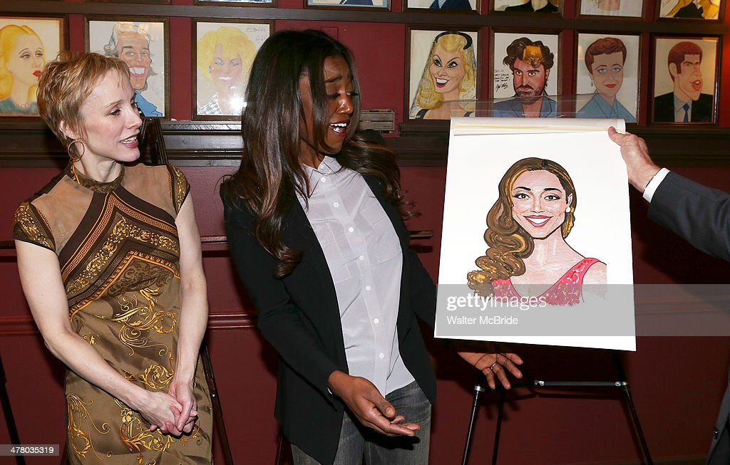 Charlotte d'Amboise and Patina Miller attend the Caricature Unveiling for Broadway's 'Pippin' at Sardi's on March 11 2014 in New York City