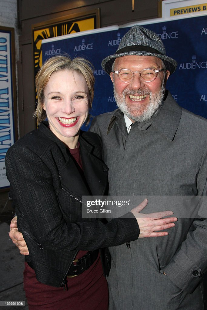 Charlotte d'Amboise and Walter Bobbie pose at the Opening Night of 'The Audience' on Broadway at The Gerald Schoenfeld Theatre on March 8 2015 in New...