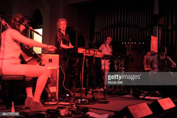 Charlotte Danhier Agnes Obel Kristina Koropecki and Catherine de Biasio perform onstage at the Communion music showcase during 2017 SXSW Conference...