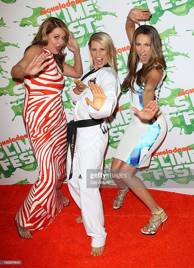 Charlotte Dawson Tiffiny Hall and Rachael Finch pose on the media wall ahead of Nickelodeon Slimefest 2012 at Hordern Pavilion on September 15 2012...