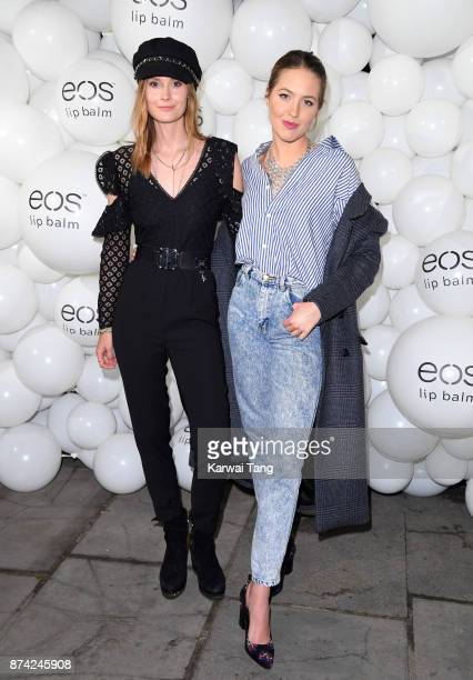 Charlotte de Carle and Tess Ward attend the 'EOS Lip Balm Winter Lips' party at Jimmy's Lodge Pop up on November 14 2017 in London England