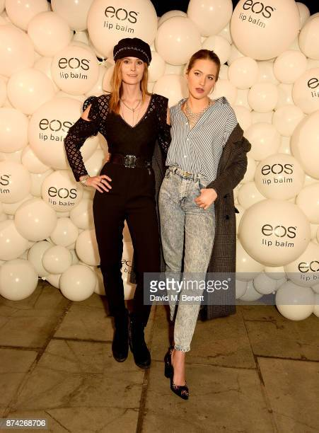 Charlotte de Carle and Tess Ward attend the EOS Lip Balm Winter Lips Party at Southbank Centre on November 14 2017 in London England