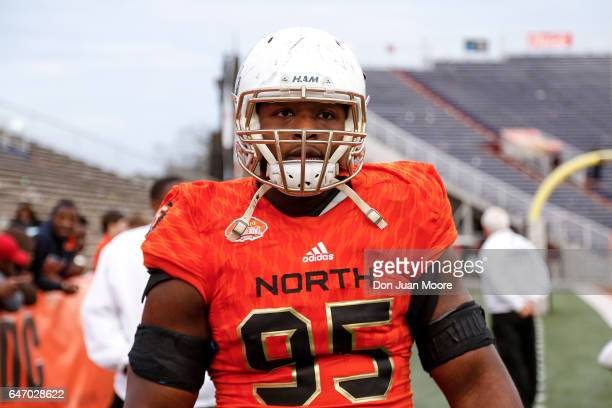 Charlotte Defensive Tackle Larry Ogunjobi of the South Team during the 2017 Resse's Senior Bowl at LaddPeebles Stadium on January 28 2017 in Mobile...