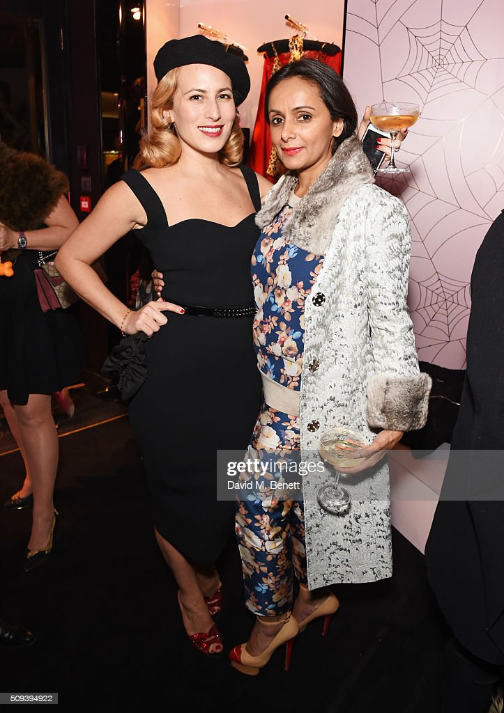 <a gi-track='captionPersonalityLinkClicked' href=/galleries/search?phrase=Charlotte+Dellal&family=editorial&specificpeople=2242560 ng-click='$event.stopPropagation()'>Charlotte Dellal</a> (L) and Bonnie Takhar attend an intimate cocktail event hosted at Agent Provocateur Grosvenor Street boutique to celebrate the launch of the Agent Provocateur and Charlotte Olympia capsule collection on February 10, 2016 in London, England.