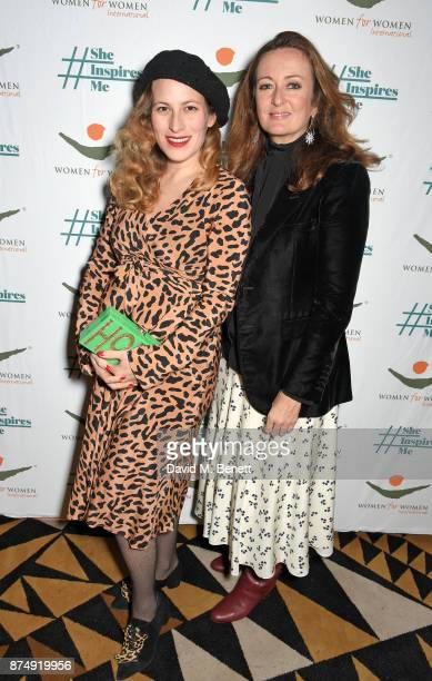 Charlotte Dellal and Lucy Yeomans attend the Women for Women International's #SheInspiresMe lunch at Quaglino's on November 16 2017 in London England