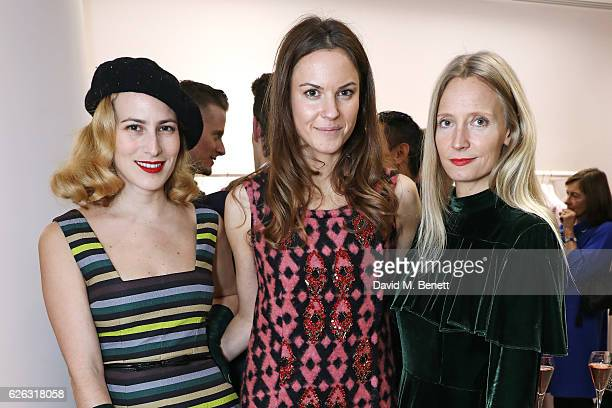 Charlotte Dellal Fran Hickman and Martha Ward attend the Emilia Wickstead Christmas Cocktail party at the Emilia Wickstead London Flagship store on...
