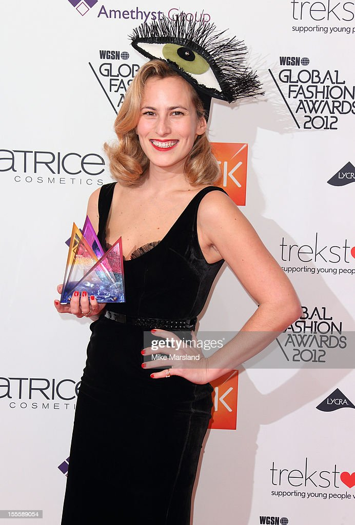 Charlotte Dellal poses in the awards room at the WGSN Global Fashion Awards at The Savoy Hotel on November 5, 2012 in London, England.