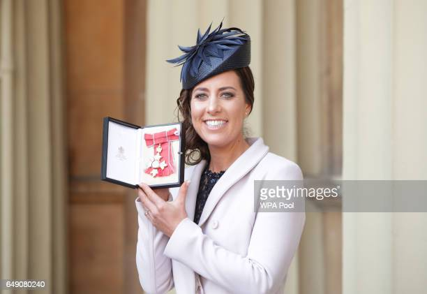 Charlotte Dujardin after she was awarded a CBE by Queen Elizabeth II during an Investiture ceremony at Buckingham Palace on March 7 2017 in London...