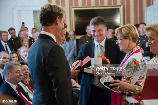 Charlotte Dujardin with Carl Hester and Elisabeth 'Sissy' MaxTheurer during the Award Ceremony for the 'Prix de l'Ecole d'Equitation Espagnole de...