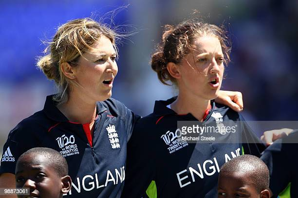 Charlotte Edwards and Sarah Taylor of England during the national anthems during the ICC T20 Women's World Cup Group A match between England and...